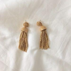 BaubleBar Gold Beaded Tassel Earrings • NWT